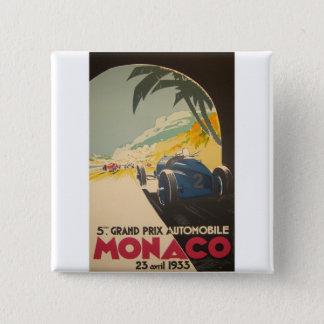 モナコグランプリポスター 5.1CM 正方形バッジ