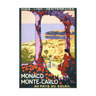 モナコ。 元通りになるモンテカルロのヴィンテージ旅行ポスター キャンバスプリント