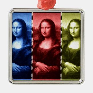 モナ・リザのアニマルプリントの原色 メタルオーナメント