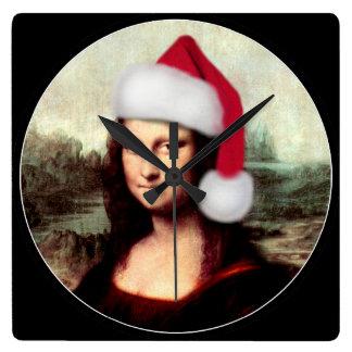 モナ・リザのクリスマスのサンタの帽子 スクエア壁時計