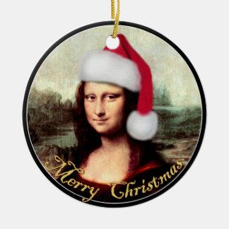 モナ・リザのクリスマスのサンタの帽子 セラミックオーナメント