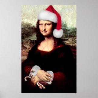 モナ・リザのクリスマスのサンタの帽子 ポスター