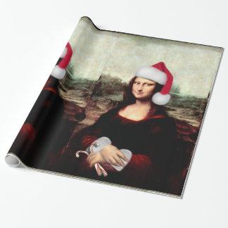 モナ・リザのクリスマスのサンタの帽子 ラッピングペーパー