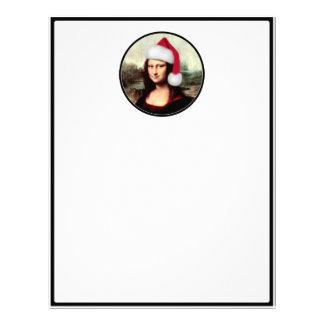 モナ・リザのクリスマスのサンタの帽子 レターヘッド