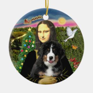 モナ・リザのクリスマス- Bernese MDの子犬 セラミックオーナメント