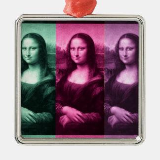 モナ・リザの緑のピンクの紫色 メタルオーナメント