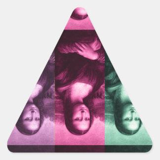 モナ・リザの緑のピンクの紫色 三角形シール