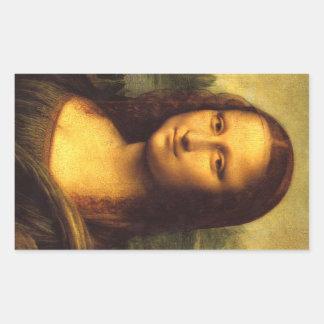 モナ・リザの頭部の詳細-レオナルド・ダ・ヴィンチ 長方形シール