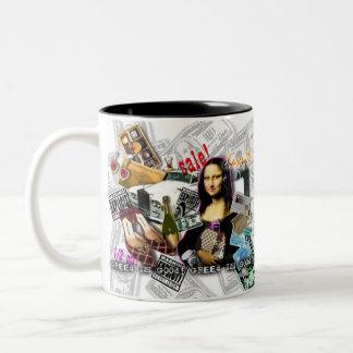 モナ・リザはマラソンの買物をするコップ、マグを促進します ツートーンマグカップ