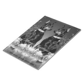 モノクロクリスマスのテーマのノート ノートパッド