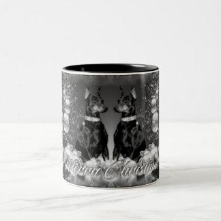 モノクロクリスマスのテーマのマグ ツートーンマグカップ