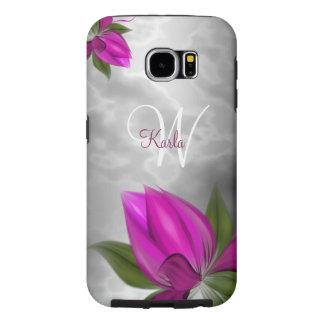 モノクロ大理石のピンクの花柄 SAMSUNG GALAXY S6 ケース