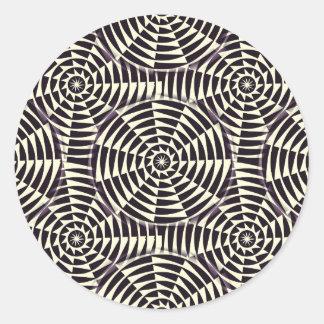 モノクロ幾何学的で継ぎ目が無いパターン ラウンドシール