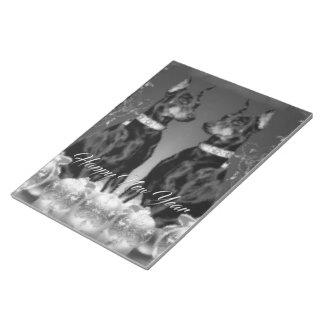 モノクロ新年のテーマのノート ノートパッド