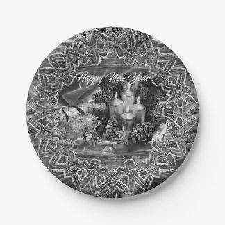 モノクロ新年のテーマの紙皿 ペーパープレート