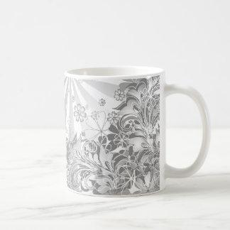 モノクロ花 コーヒーマグカップ