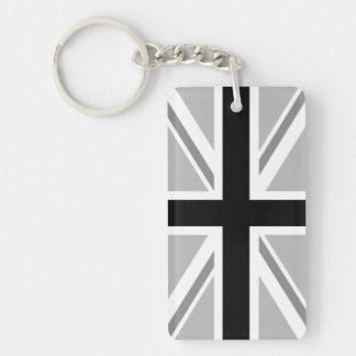 モノクロ英国旗かジャックのデザイン キーホルダー
