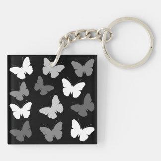 モノクロ蝶デザイン キーホルダー
