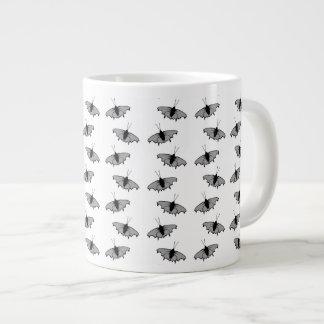 モノクロ蝶パターン ジャンボコーヒーマグカップ