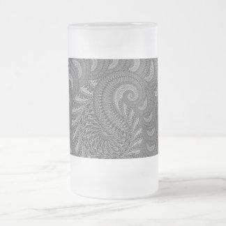 モノクロ螺線形のグラフィック フロストグラスビールジョッキ