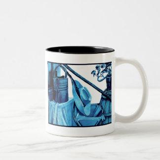 モノクロ青い静物画 ツートーンマグカップ
