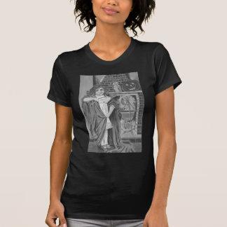 モノクロ魔法使いのフクロウハロウィーンのカボチャのちょうちん Tシャツ