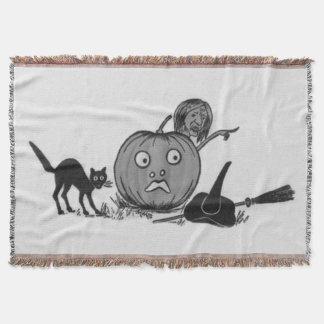 モノクロ魔法使いの黒猫ハロウィーンのカボチャのちょうちん スローブランケット