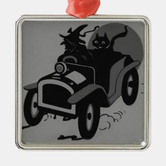 モノクロ魔法使いの黒猫車 メタルオーナメント