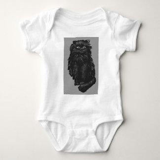 モノクロ黒猫 ベビーボディスーツ