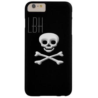 モノグラムが付いているおもしろいのスカルおよびCrossboneのiPhoneカバー Barely There iPhone 6 Plus ケース