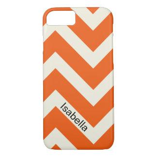 モノグラムが付いているシェブロンカラフルなオレンジパターン iPhone 8/7ケース