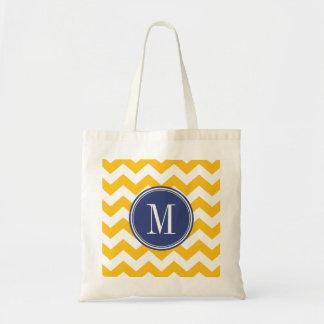モノグラムが付いているシェブロン黄色および青のパターン トートバッグ