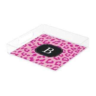 モノグラムが付いているショッキングピンクのヒョウのプリントの皿 アクリルトレー