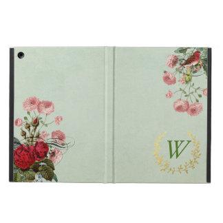 モノグラムが付いているフランスのな花のiPadの空気箱 iPad Airケース