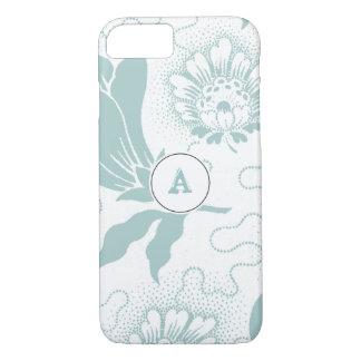 モノグラムが付いているヴィンテージの素朴なティール(緑がかった色)の花柄 iPhone 8/7ケース