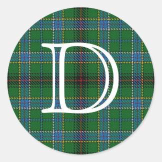 モノグラムが付いている一族のダンカンのスコットランドのタータンチェック ラウンドシール