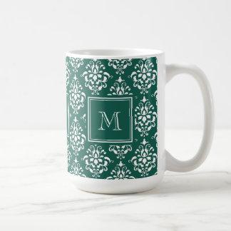 モノグラムが付いている常緑のダマスク織パターン1 コーヒーマグカップ