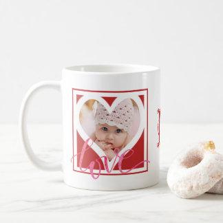 モノグラムが付いている愛ハートの写真フレーム(2つの写真) コーヒーマグカップ