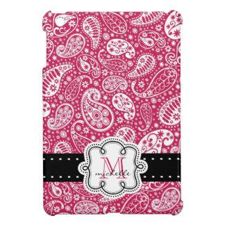 モノグラムが付いている暗いピンクのペイズリーパターン iPad MINIケース