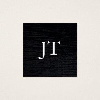 モノグラムが付いている模造のなビロードの黒のプリント スクエア名刺