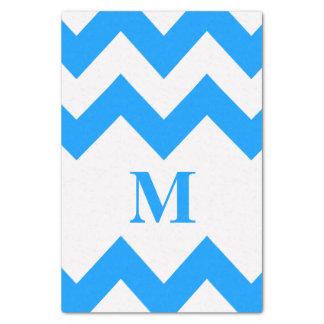 モノグラムが付いている淡いブルーのはっきりしたなシェブロン 薄葉紙