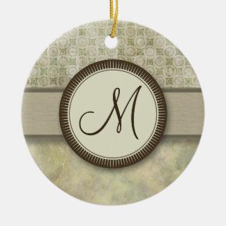 モノグラムが付いている淡い色のなコケの硬貨パターン セラミックオーナメント