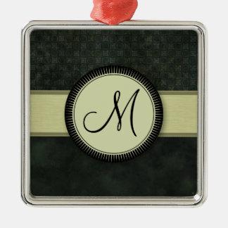 モノグラムが付いている深緑色の硬貨パターン メタルオーナメント