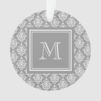 モノグラムが付いている灰色のダマスク織パターン1 オーナメント