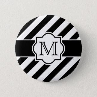 モノグラムが付いている白黒の抽象的な縞模様 5.7CM 丸型バッジ