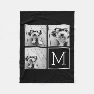 モノグラムが付いている白黒粋な写真のコラージュ フリースブランケット