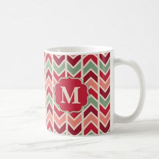 モノグラムが付いている粋な休日のシェブロンパターン コーヒーマグカップ