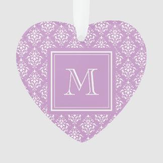モノグラムが付いている紫色のダマスク織パターン1 オーナメント