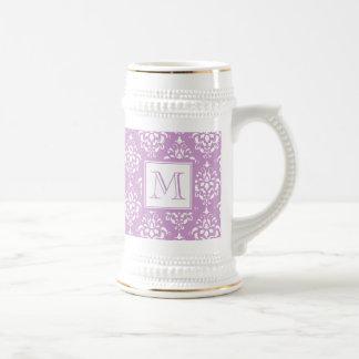 モノグラムが付いている紫色のダマスク織パターン1 ビールジョッキ