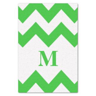 モノグラムが付いている緑のはっきりしたなシェブロン 薄葉紙